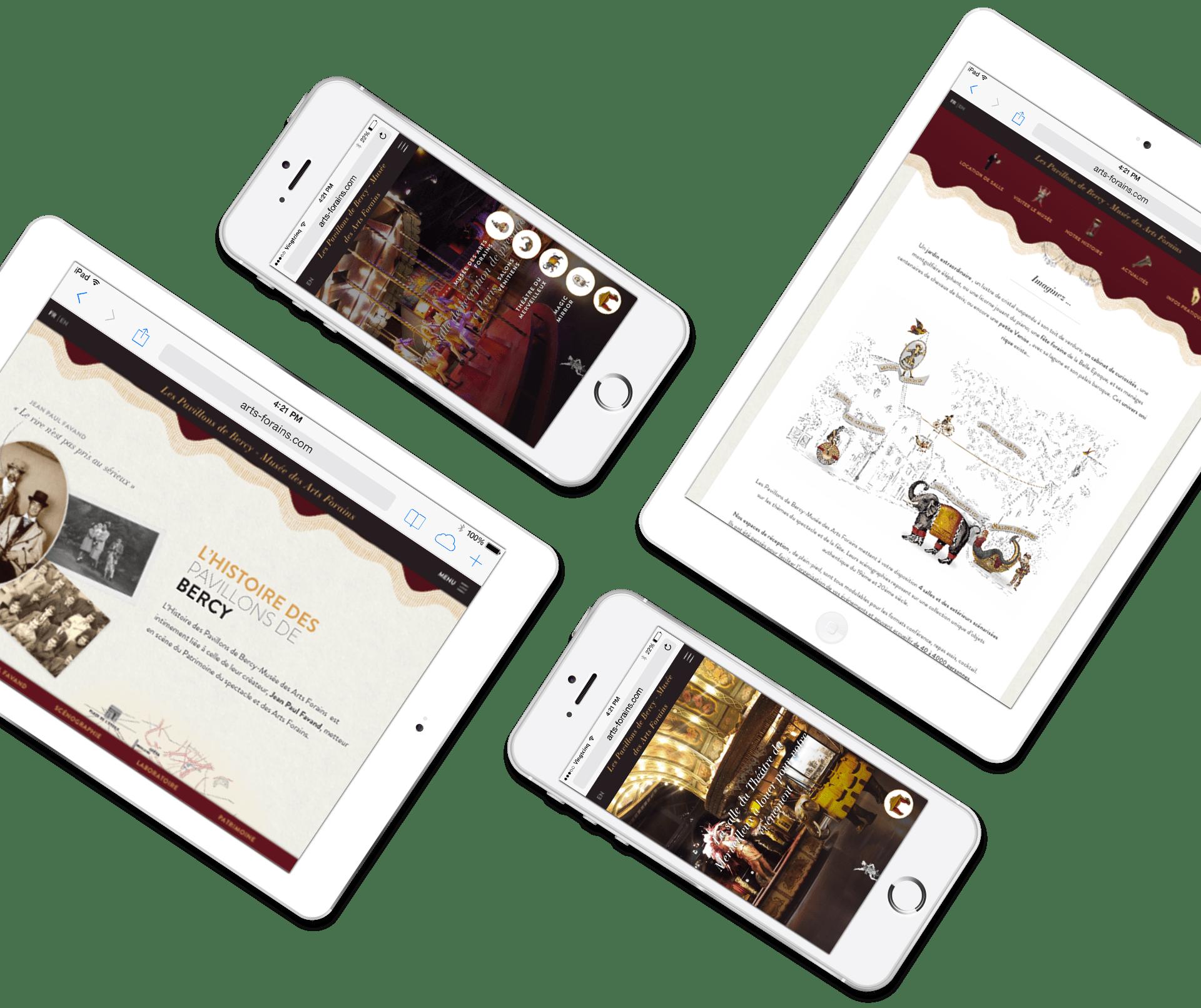Musée des Arts Forains - Site responsive tablette et mobile