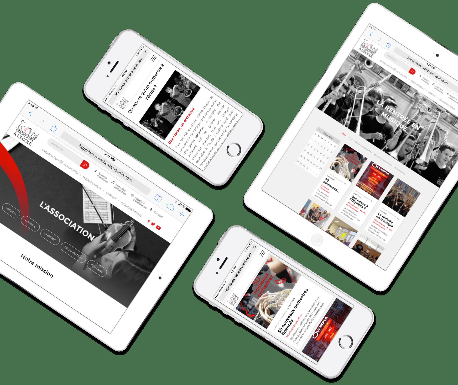 Orchestre à l'école - Site responsive tablette et mobile